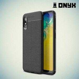 Leather Litchi силиконовый чехол накладка для Samsung Galaxy A10e - Черный