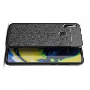 Leather Litchi силиконовый чехол накладка для Samsung Galaxy A11 - Черный