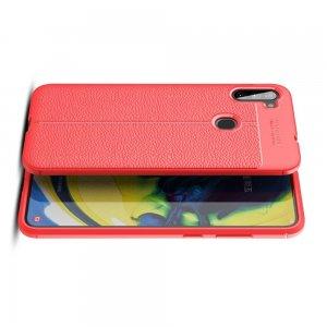 Leather Litchi силиконовый чехол накладка для Samsung Galaxy A11 - Красный