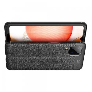 Leather Litchi силиконовый чехол накладка для Samsung Galaxy A12 - Черный