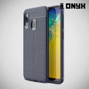 Leather Litchi силиконовый чехол накладка для Samsung Galaxy A20e - Синий