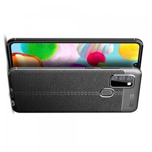 Leather Litchi силиконовый чехол накладка для Samsung Galaxy A21s - Черный