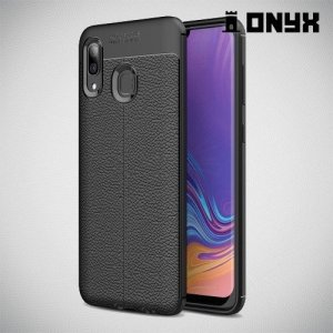 Leather Litchi силиконовый чехол накладка для Samsung Galaxy A30 / A20 - Черный