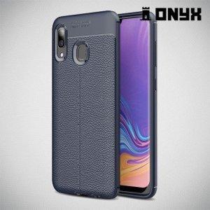 Leather Litchi силиконовый чехол накладка для Samsung Galaxy A30 / A20 - Синий