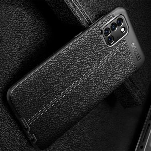 Leather Litchi силиконовый чехол накладка для Samsung Galaxy A31 - Черный