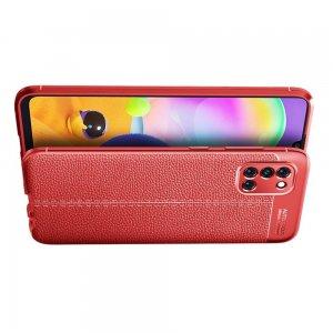 Leather Litchi силиконовый чехол накладка для Samsung Galaxy A31 - Красный