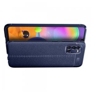 Leather Litchi силиконовый чехол накладка для Samsung Galaxy A31 - Синий