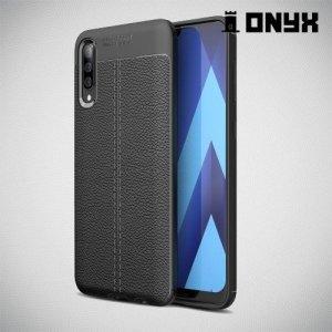 Leather Litchi силиконовый чехол накладка для Samsung Galaxy A50 - Черный
