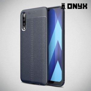 Leather Litchi силиконовый чехол накладка для Samsung Galaxy A50 - Синий