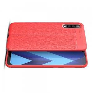 Leather Litchi силиконовый чехол накладка для Samsung Galaxy A50 / A30s - Коралловый