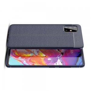 Leather Litchi силиконовый чехол накладка для Samsung Galaxy A51 - Синий