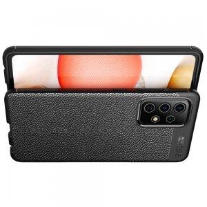 Leather Litchi силиконовый чехол накладка для Samsung Galaxy A52 - Черный