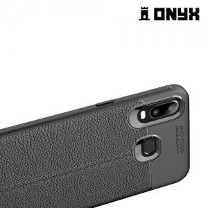Leather Litchi силиконовый чехол накладка для Samsung Galaxy A6s - Черный