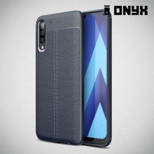 Leather Litchi силиконовый чехол накладка для Samsung Galaxy A70 - Синий