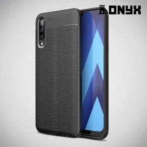 Leather Litchi силиконовый чехол накладка для Samsung Galaxy A70 - Черный