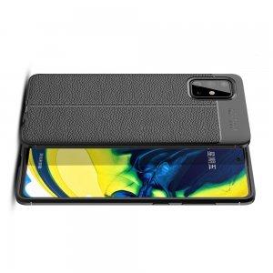 Leather Litchi силиконовый чехол накладка для Samsung Galaxy A71 - Черный