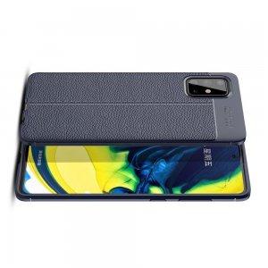Leather Litchi силиконовый чехол накладка для Samsung Galaxy A71 - Синий