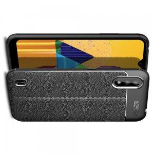 Leather Litchi силиконовый чехол накладка для Samsung Galaxy M01 - Черный