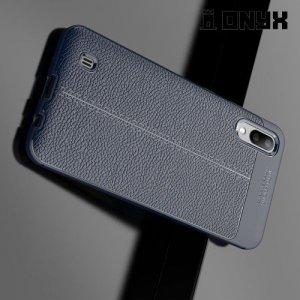Leather Litchi силиконовый чехол накладка для Samsung Galaxy M10 - Синий