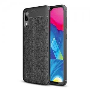 Leather Litchi силиконовый чехол накладка для Samsung Galaxy M10 - Черный