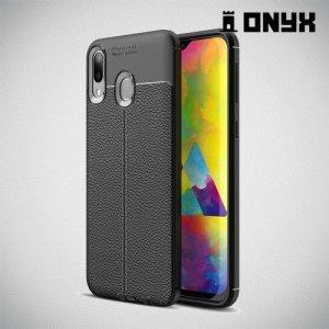 Leather Litchi силиконовый чехол накладка для Samsung Galaxy M20 - Черный