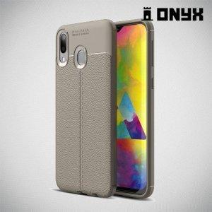 Leather Litchi силиконовый чехол накладка для Samsung Galaxy M20 - Серый