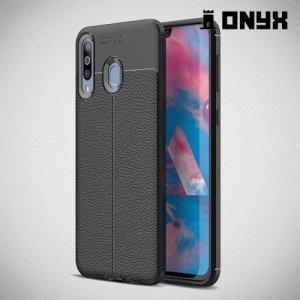 Leather Litchi силиконовый чехол накладка для Samsung Galaxy M30 - Черный