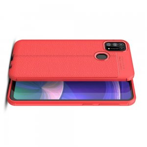 Leather Litchi силиконовый чехол накладка для Samsung Galaxy M31 - Красный