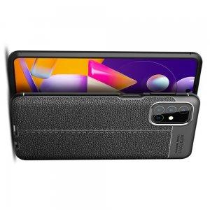 Leather Litchi силиконовый чехол накладка для Samsung Galaxy M31s - Черный