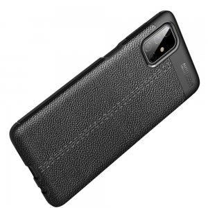 Leather Litchi силиконовый чехол накладка для Samsung Galaxy M51 - Черный
