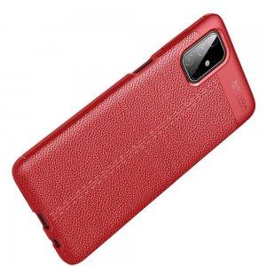 Leather Litchi силиконовый чехол накладка для Samsung Galaxy M51 - Красный