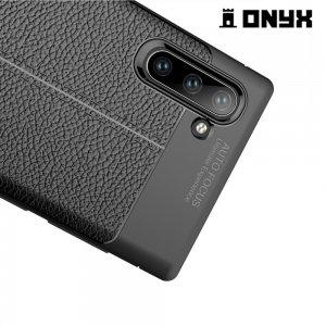 Leather Litchi силиконовый чехол накладка для Samsung Galaxy Note 10 - Черный