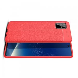 Leather Litchi силиконовый чехол накладка для Samsung Galaxy Note 10 Lite - Красный