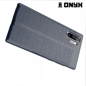 Leather Litchi силиконовый чехол накладка для Samsung Galaxy Note 10+ - Синий