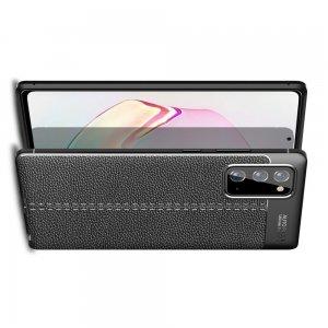 Leather Litchi силиконовый чехол накладка для Samsung Galaxy Note 20 - Черный