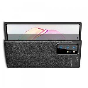 Leather Litchi силиконовый чехол накладка для Samsung Galaxy Note 20 Plus - Черный