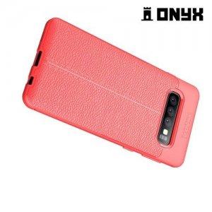 Leather Litchi силиконовый чехол накладка для Samsung Galaxy S10 - Коралловый