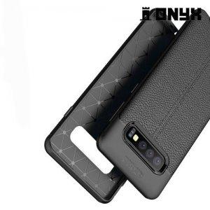 Leather Litchi силиконовый чехол накладка для Samsung Galaxy S10 - Черный