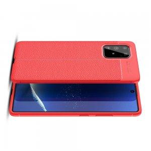 Leather Litchi силиконовый чехол накладка для Samsung Galaxy S10 Lite - Красный