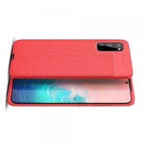 Leather Litchi силиконовый чехол накладка для Samsung Galaxy S20 - Красный