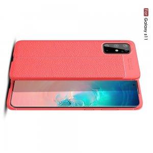 Leather Litchi силиконовый чехол накладка для Samsung Galaxy S20 Plus - Красный