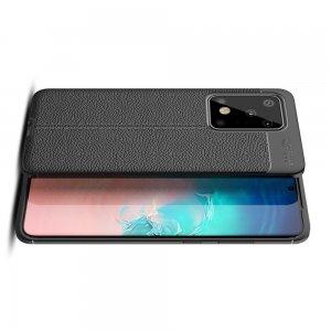 Leather Litchi силиконовый чехол накладка для Samsung Galaxy S20 Ultra - Черный