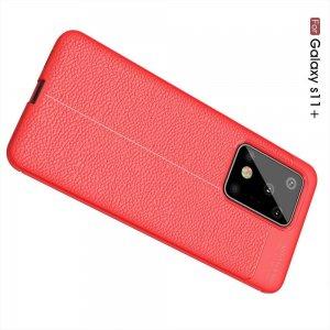 Leather Litchi силиконовый чехол накладка для Samsung Galaxy S20 Ultra - Красный