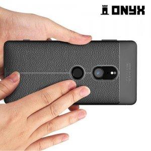 Leather Litchi силиконовый чехол накладка для Sony Xperia XZ2 - Черный