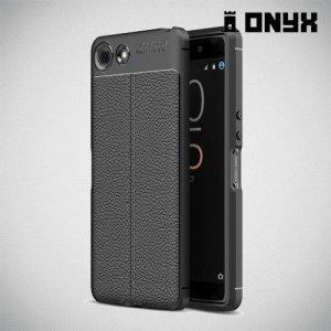 Leather Litchi силиконовый чехол накладка для Sony Xperia XZ4 Compact - Черный