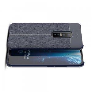 Leather Litchi силиконовый чехол накладка для vivo V17 Pro - Синий
