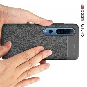 Leather Litchi силиконовый чехол накладка для Xiaomi Mi 10 / Mi 10 Pro - Черный