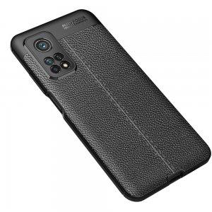 Leather Litchi силиконовый чехол накладка для Xiaomi Mi 10T / Mi 10T Pro - Черный