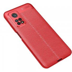 Leather Litchi силиконовый чехол накладка для Xiaomi Mi 10T / Mi 10T Pro - Красный