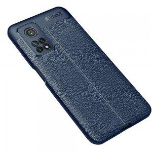 Leather Litchi силиконовый чехол накладка для Xiaomi Mi 10T / Mi 10T Pro - Синий